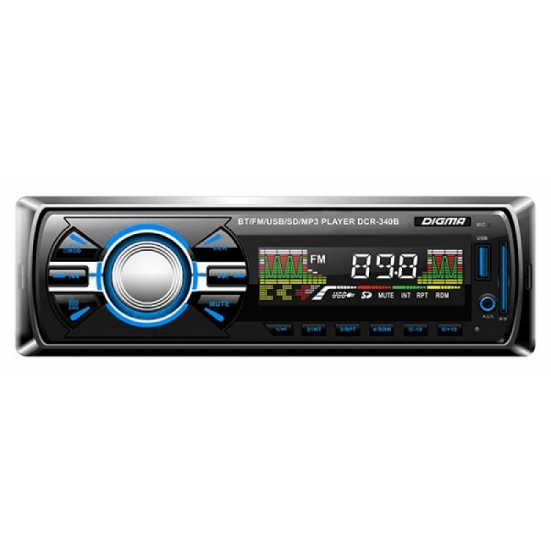 Автомагнитола Digma DCR-340B, 1DIN, 4X45Вт, USB/SD, AUX-вход