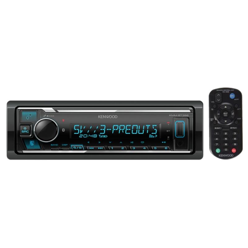 Автомагнитола KENWOOD KMM-BT356, 1DIN, 4X50Вт, USB, AUX-вход, с поддержкой FLAC, управление iPhone или iPod, Bluetooth, 3 RCA-выхода