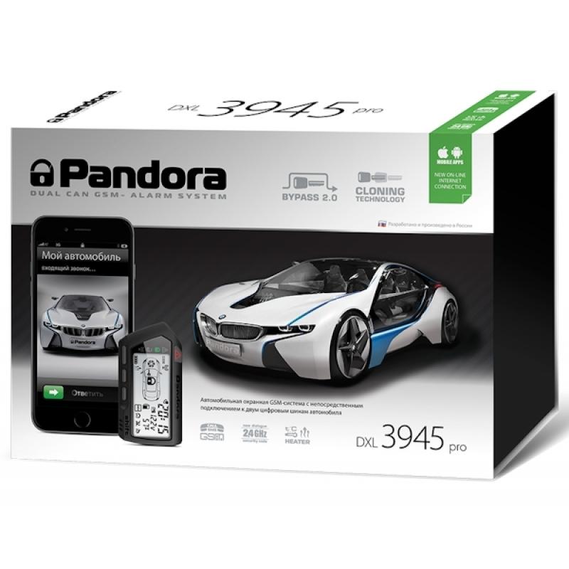 Автосигнализация PANDORA DXL 3945 PRO с бесключевым автозапуском (технология-Clone), диалоговый код, управление с телефона, функция иммобилайзера, брелок LCD, брелок-метка, CAN-интерфейс.