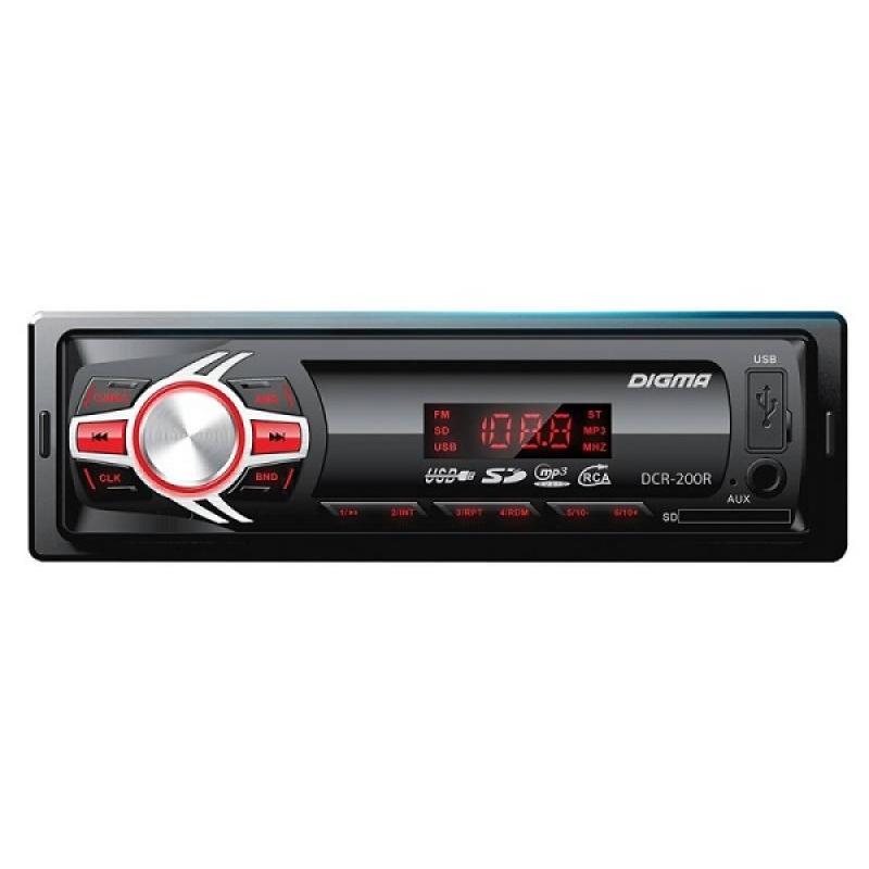 Автомагнитола Digma DCR-200R, 1DIN, 4X45Вт, USB/SD, AUX-вход