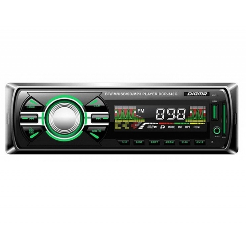 Автомагнитола Digma DCR-340G, 1DIN, 4X45Вт, USB/SD, AUX-вход