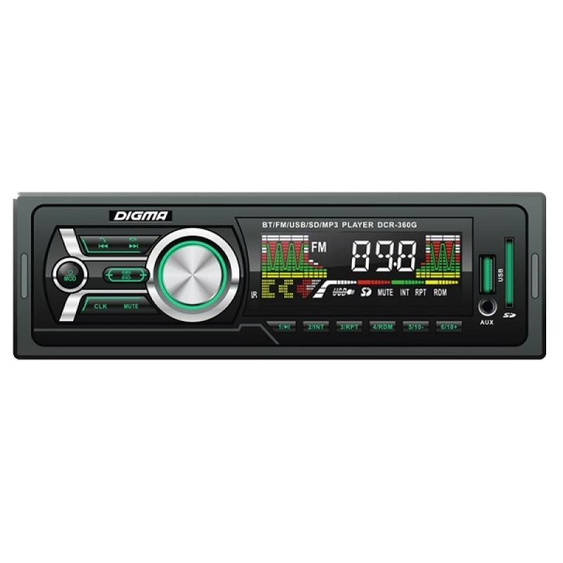 Автомагнитола Digma DCR-360G, 1DIN, 4X45Вт, USB/SD, AUX-вход