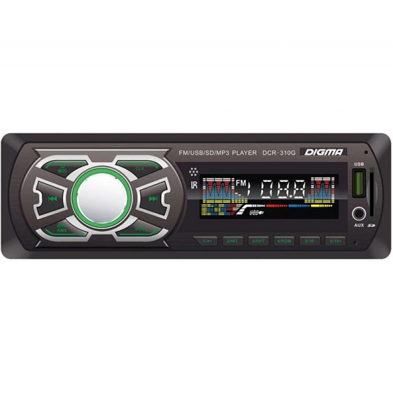Автомагнитола Digma DCR-310G, 1DIN, 4X45Вт, USB/SD, AUX-вход