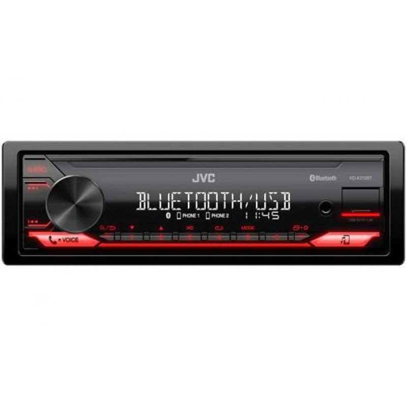 Автомагнитола JVC KD-X272BT, 1DIN, 4X50Вт, USB, AUX-вход, с поддержкой FLAC, Bluetooth,Spotify, с временными задержками и 3-полосным кроссовером