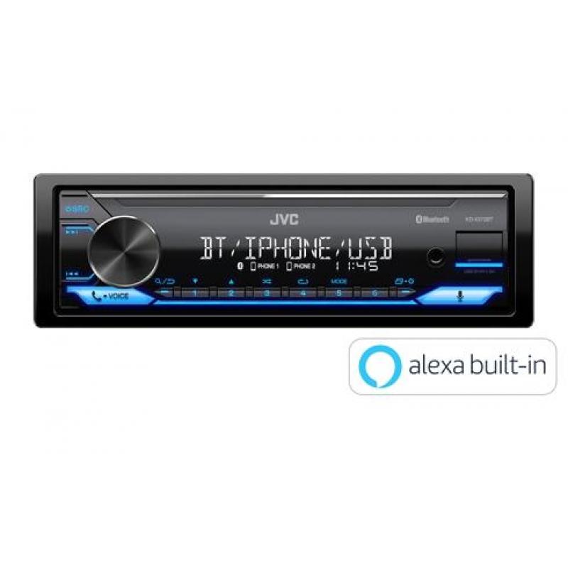 Автомагнитола JVC KD-X372BT, 1DIN, 4X50Вт, USB, AUX-вход, с поддержкой FLAC, Bluetooth, Amazon Alexa