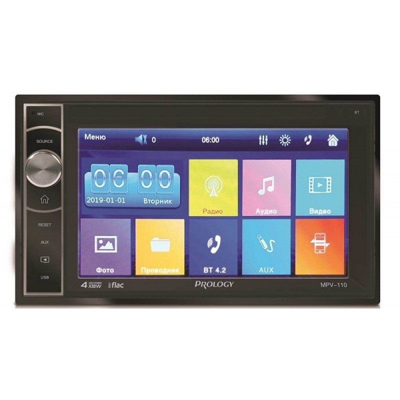 Автомагнитола PROLOGY MPV-110, Мультимедиа, 2DIN, 4X55Вт, USB/SD, AUX-вход, Сенсорный экран, Bluetooth