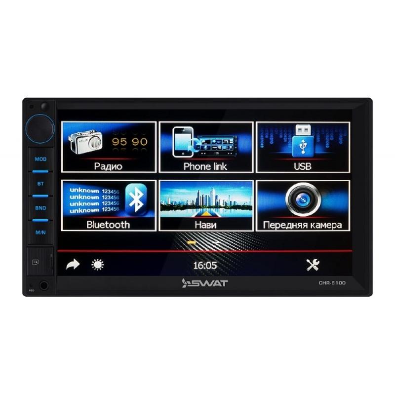 Автомагнитола SWAT CHR-6100, Мультимедиа, 2DIN, 4X40Вт, USB/SD, AUX-вход, Сенсорный экран, Bluetooth, Навигация