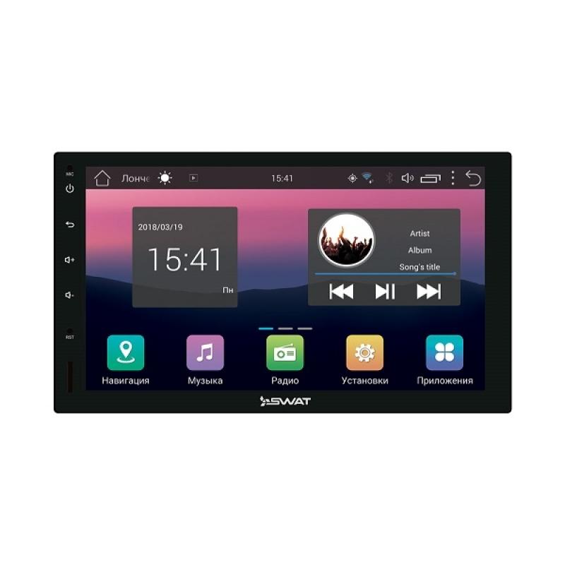 Автомагнитола SWAT AHR-5280, Мультимедиа, 2DIN, 4X50Вт, USB/SD, AUX-вход, Сенсорный экран, Bluetooth, Навигация, Android 7.0, Wi-Fi, GPS